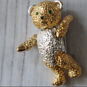 quality vintage articulated teddy bear brooch pin